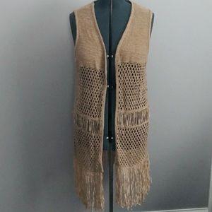 Boho long crochet fringed vest